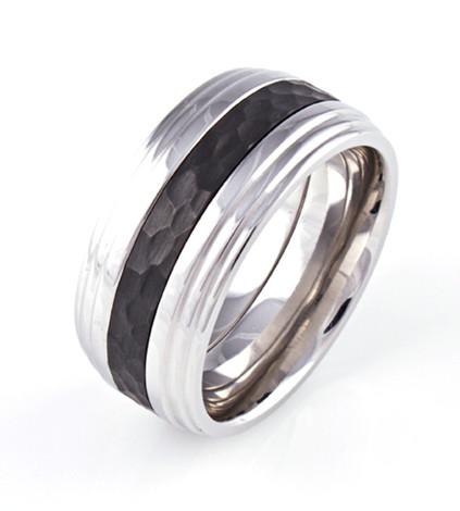 Men's Step Down Cobalt Stock Exchange Ring with Black Zirconium Inlay