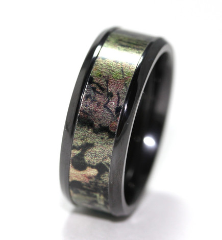 Black Zirconium Mossy Oak Infinity Wedding Band
