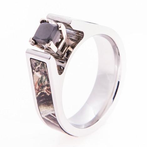 Women's Cobalt Chrome Cathedral Cut Black Diamond Camo Engagement Ring