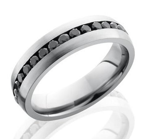 Men's Cobalt Chrome Black Diamond Eternity Ring