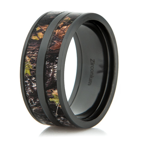 Men's Black Zirconium Double Barrel Camo Ring