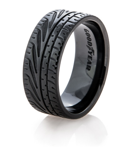 Men's Black Goodyear Eagle F1 Supercar Tire Wedding Ring