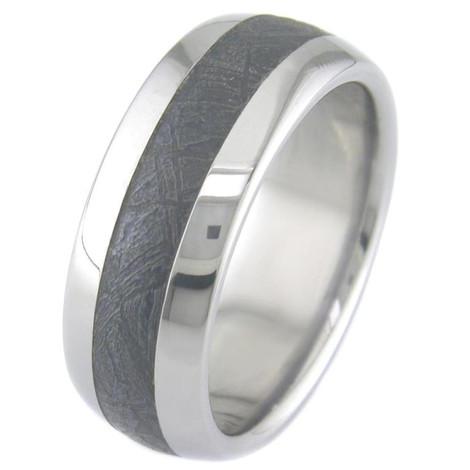 Men's Titanium Black Gibeon Meteorite Ring