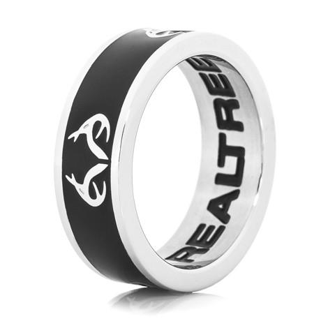 Women's Stainless Steel Black Realtree Logo Ring