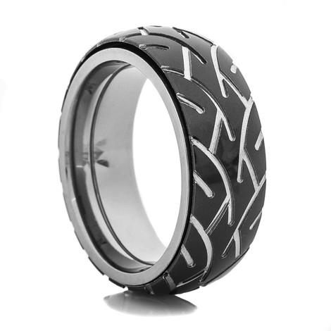 Men's Black Motorcycle Spinner Ring