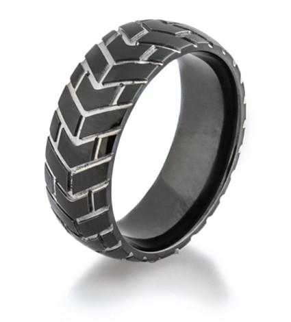 Men's Black Tread Cycle 3 Motorcycle Ring