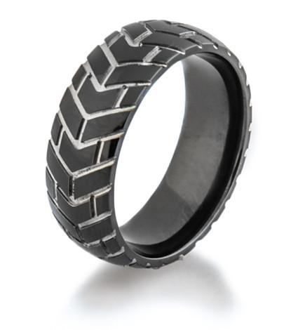 Men's Black Tread Cycle 3 Motorcycle Ring