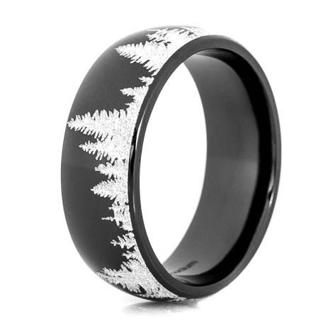 Men's Black Zirconium Tree Line Ring