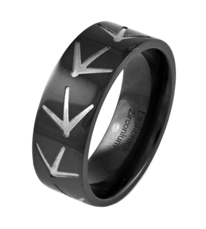 Men's Black Zirconium Turkey Tracks Ring