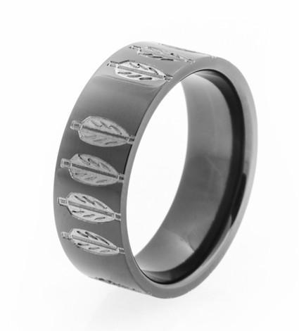Men's Laser-Carved Black Zirconium Archer Ring