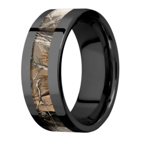Men's Black Zirconium Flat Profile Camo Ring