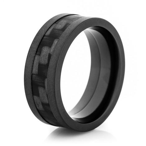 Flat Black Zirconium Ring with Carbon Fiber Inlay