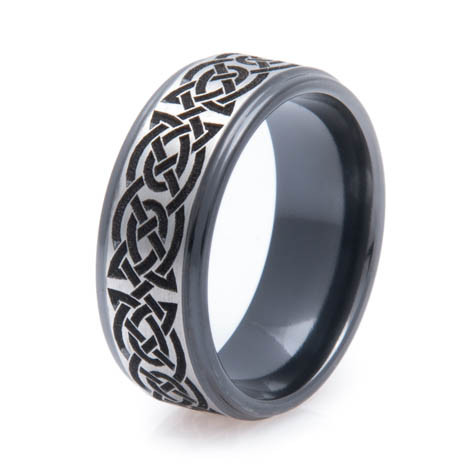 Men's Black Zirconium Celtic Knot Ring