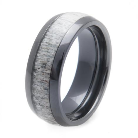Men's Black Zirconium Deer Antler Inlay Ring