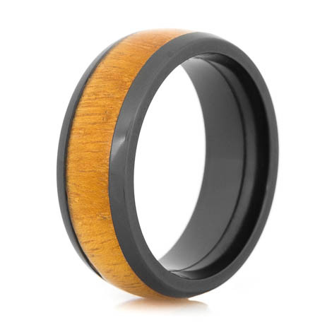 Men's Dome Profile Polished Black Zirconium Osage Orange Wedding Band
