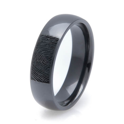 Men's Polished Black Zirconium Fingerprint Ring