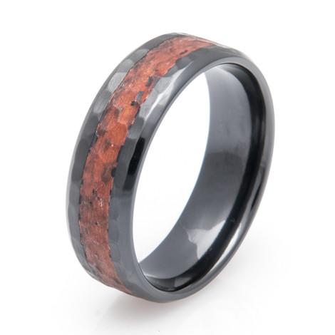 Black Zirconium Hammered Copper Ring