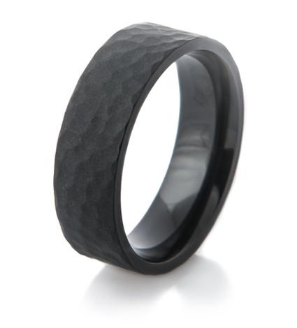 Matte Black Zirconium Hammered Ring
