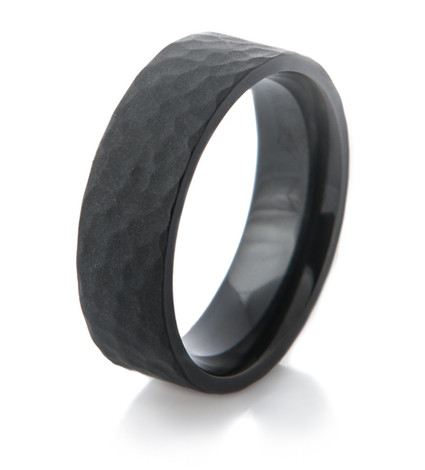 Matte Black Zirconium Hammered Ring