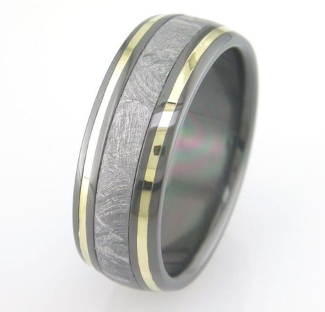 Men's Black Zirconium Meteorite Ring with Twin 18K Gold Accents