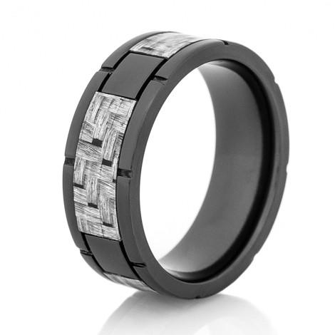 Men's Black Zirconium Segmented Texalium Ring
