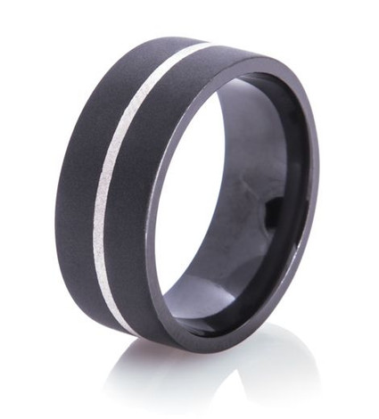 Flat Black and Silver Ring