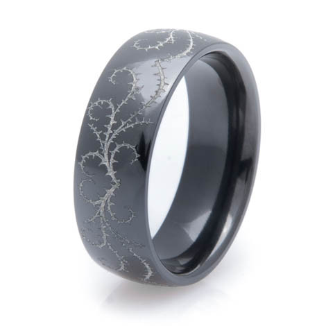 Men's Polished Black Zirconium Heart and Thorns Ring