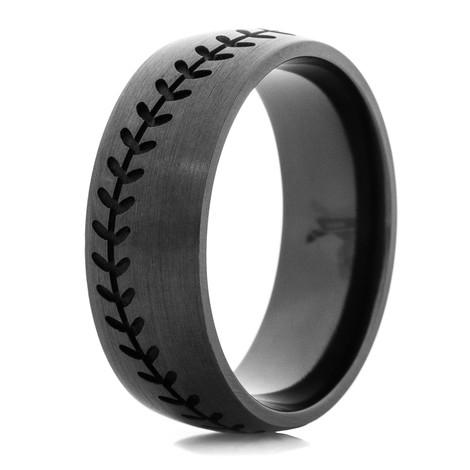 Men's Blacked Out Baseball Wedding Band
