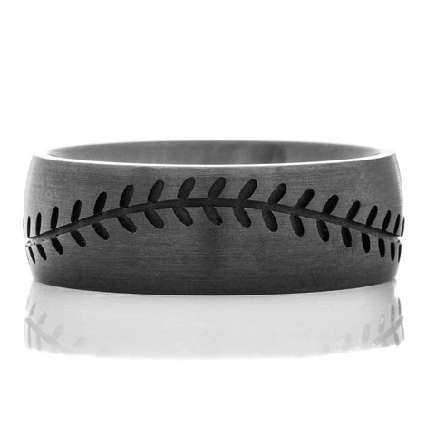 Men's Blacked Out Baseball Wedding Band