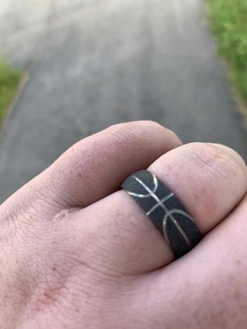 Men's Charcoal Finish Black Basketball Wedding Ring