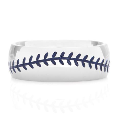 Men's Titanium Baseball Wedding Ring with Blue Stitching