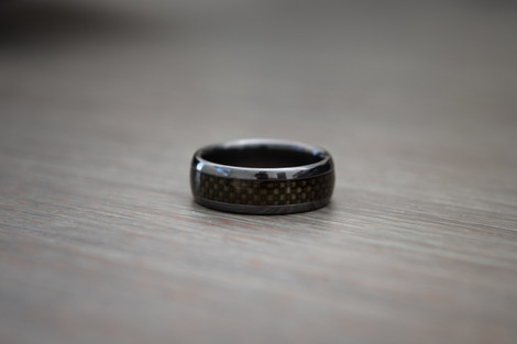 Black Zirconium and Carbon Fiber Ring