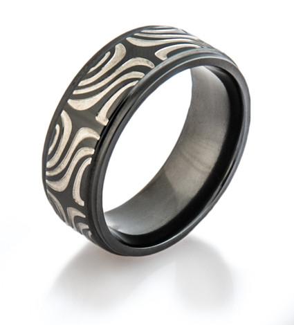 Black Zirconium Mokume Ring