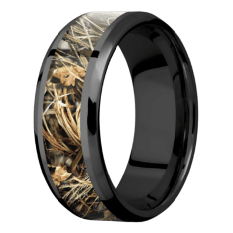 Men's Black Beveled Edge Camo Wedding Ring