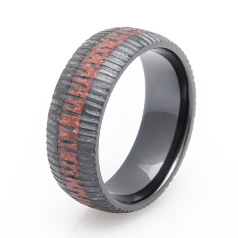 Black Zirconium Copper Ring with Carved Finish