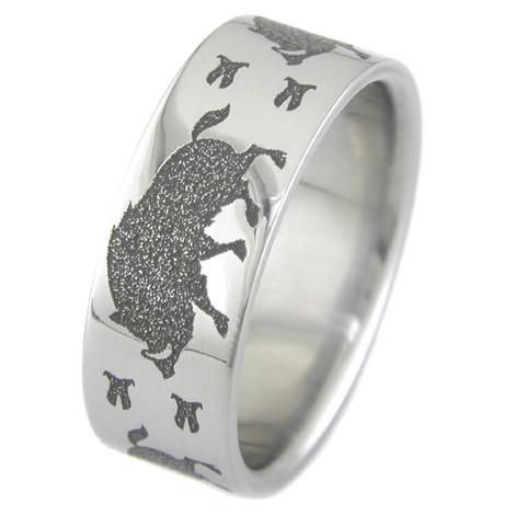 Men's Titanium Wild Boar Ring