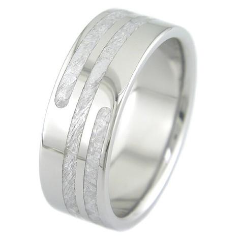 Men's Titanium Gibeon Meteorite Ring with Spiral Inlay