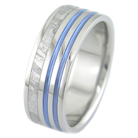 Flat Profile Meteorite Ring with Offset Blue Stripes