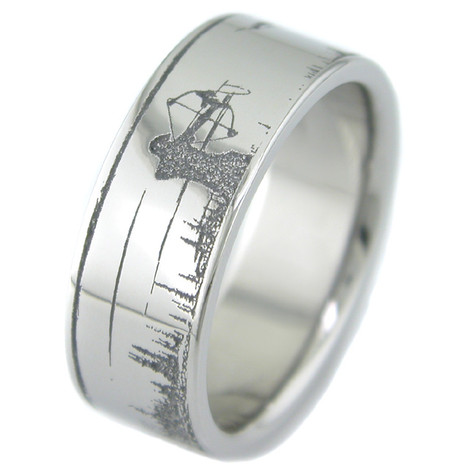 Men's Laser-Carved Titanium Bowfishing Ring
