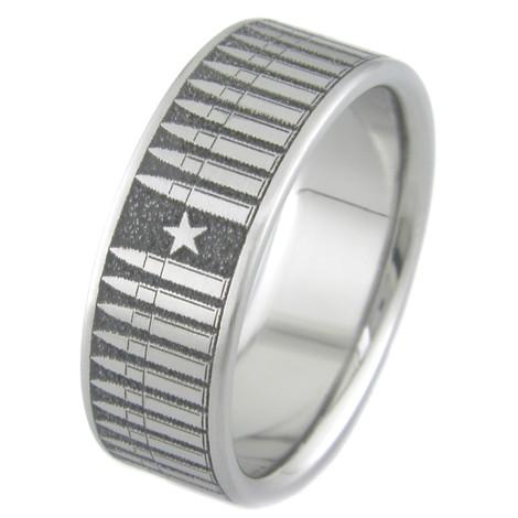 Men's Laser-Carved Titanium Bullet Ring
