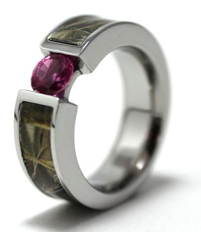 Women's Titanium Camo Chick Pink Bling Ring