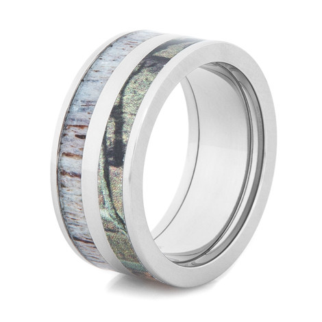Men's Titanium Camo & Deer Antler Inlay Ring