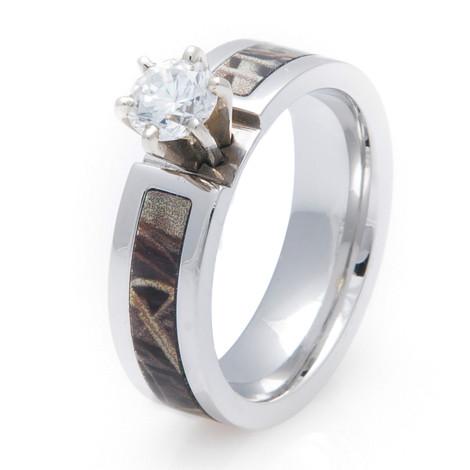 Women's Cobalt Chrome Diamond Camo Engagement Band