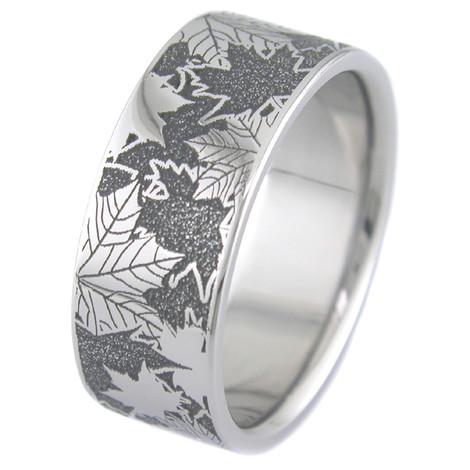 Men's Titanium Lasered Carved Leaf Ring