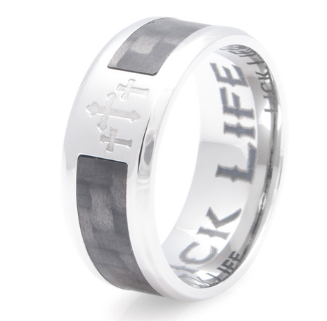 Men's Titanium and Carbon Fiber Three Crosses Ring