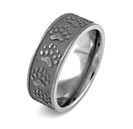 Men's Titanium Carved Bear Tracks Ring