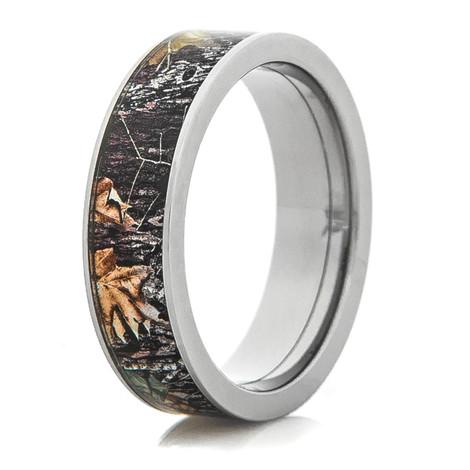 Men's Titanium Flat Profile Camouflage Wedding Ring