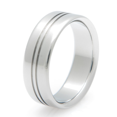 Centered Double Grooved Titanium Ring