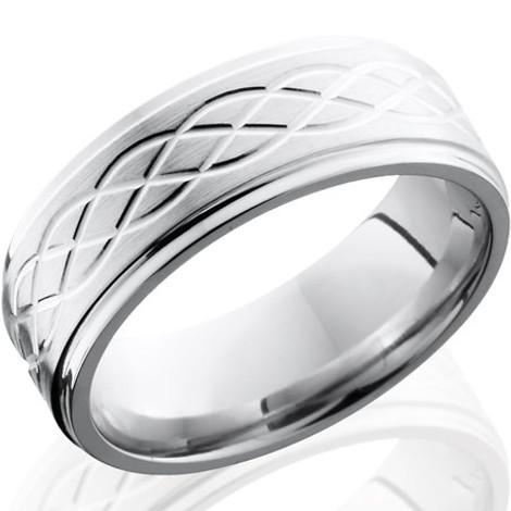 Men's Grooved Edge Simple Celtic Weave Cobalt Chrome Ring