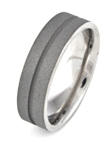 Men's Titanium Sandblasted Ring with Center Groove